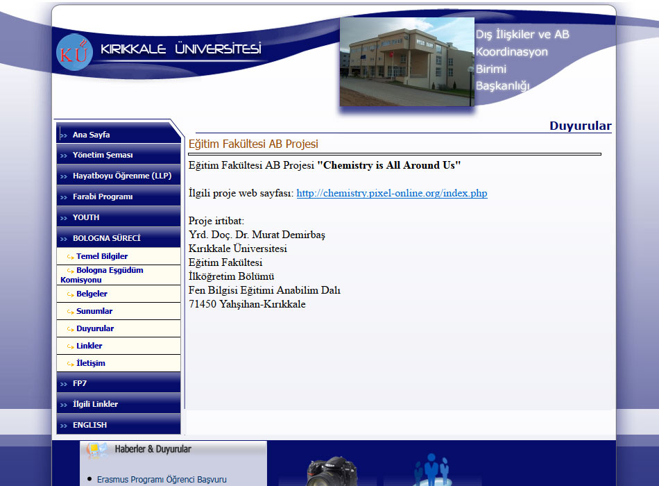 The University Of Kirikkale As Dedicated A Page Their Web Site To Chemistry Is All Around Us Project